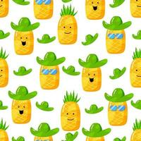 cute summer pineapple cartoon character with flat hand drawn style seamless pattern vector