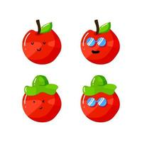 cute summer apple cartoon character with hat and sunglasses in flat hand drawn style vector