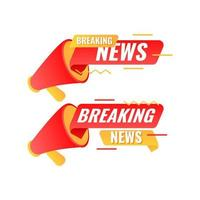 flat modern breaking news banner templates with megaphone vector