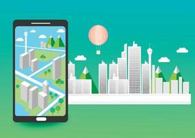 Maps for travel locations in mobile phones vector
