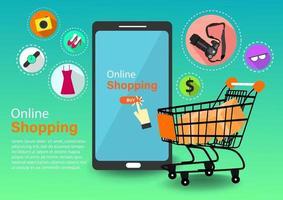 Online shopping via mobile phone vector