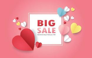 Card with pink heart shape For Valentine vector