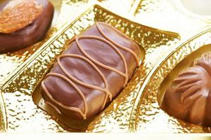 Chocolate candies on a golden background photo