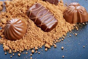 Chocolate candies on a dark background photo
