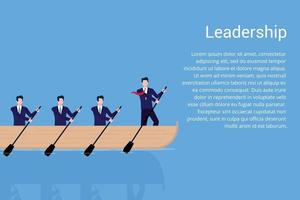 Teamwork with leader in the boat business concept vector illustration flat style design vector illustration isolated on blue background Businessmen working together teamwork and leadership concept
