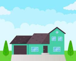 House exterior flat style design vector illustration with roof windows and shadows Classic townhouse apartments Fasade green grass and trees Cloudy sky