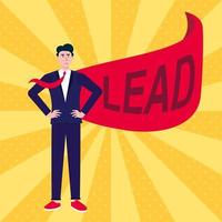 Successful man leader businessman in suit and red cape with LEAD text flat style design vector illustration isolated on rays background Concept of leadership and success in business career growth