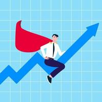 Successful man leader businessman in suit and red cape ride on graph arrow fly in the sky flat style vector illustration Concept of successful symbol in the business