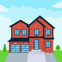 Brick house exterior flat style design vector illustration with roof windows and shadows Classic townhouse apartments Facade green grass and trees Cloudy sky