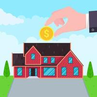 Hand puts coin in the house flat style design vector illustration Piggy bank buying house concept House bank safe investment or loan real estate symbol icon sign Green grass and clouds behind