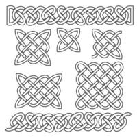 Set of celtic knot patterns and celtic elements on black background Vector illustration white infinite knitted
