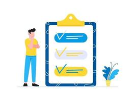 Effective Planning time management business concept Man standing near clipboard with tick V check marks Business people character flat style clipart for web banners isolated on white background vector