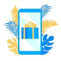 Smartphone with gift on the screen and plants behing vector