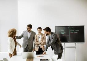 People collaborating in a meeting photo