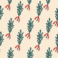 Pattern with christmas green mistletoe on beige background vector