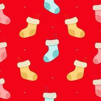 Seamless pattern with christmas socks on red background vector