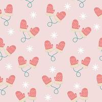 Pattern with christmas mittens and snow vector