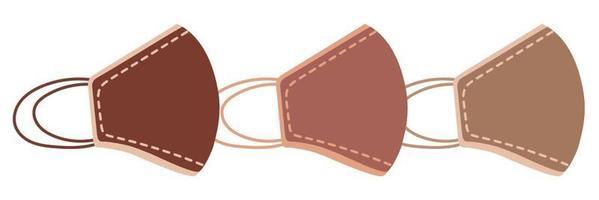 Beige set medical face mask for health vector