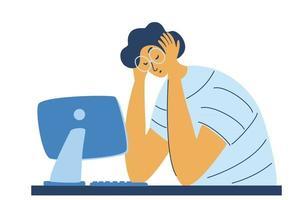 síndrome de agotamiento profesional. Gerente masculino cansado agotado en la oficina triste sentado con la cabeza hacia abajo. vector