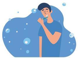 joven cepillándose los dientes con cepillo de dientes. rutina diaria de la mañana, procedimiento de higiene bucal o dental. vector