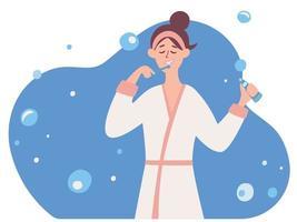 una mujer lavándose los dientes. concepto de cuidado dental. una chica en bata de baño se cepilla los dientes por la mañana. vector