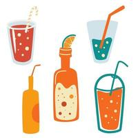 Set of summer drinks. Vector set of soft Drinks in Cans. Summer vacation and beach party.