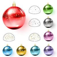 Colorful christmas balls with confetti Vector illustration