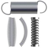 Realistic metal springs and machine absorbers set vector