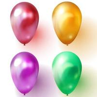 Green purple or violet gold and red balloon vector