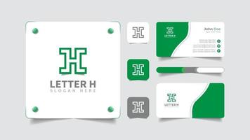 letter h logo and business card brand set vector