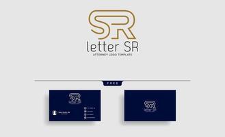 vector de ilustración de plantilla de diseño de línea de logotipo de letra sr abogado