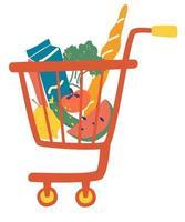 carrito de la compra comida completa. carrito de compras completo. tienda de abarrotes, supermercado. productos de grandes almacenes. vector