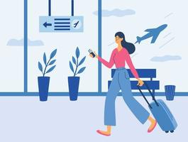 Young woman with a suitcase in airport. Airport terminal. Time to Travel. Woman with a suitcase. vector