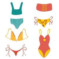 Collection of stylish women's swimwear. Set of fashionable underwear and swimsuits or bikini tops and bottoms. vector