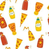 Seamless pattern with sunscreens. Sunscreen Moisturizer, Lotion, lipstick, sunscreen, various bottles, spray and tube. Sunblock, skin protection and UV rays blocking concept. vector