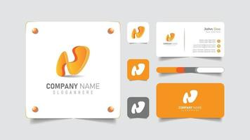 letter n logo with business card brand set vector