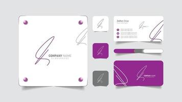 hand draw sign logo with business card vector