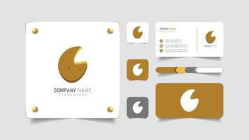 bakery logo design with business card vector