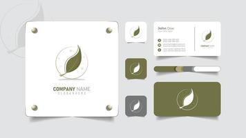 nature leaf logo and business card brand template vector