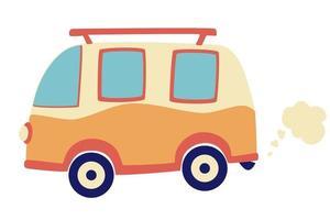 Cartoon Camper bus. Retro car. Travel omnibus family summertime holidays. Vacation poster concept. vector