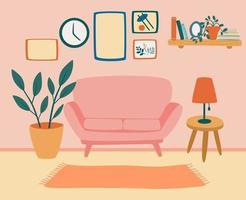 Cómodo living con sofa. interior de la sala de estar con muebles, plantas de interior y decoraciones para el hogar. vector
