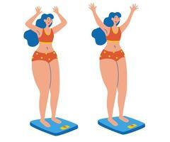mujer en escala triste y feliz. dos chicas se paran en la balanza. ideas para bajar de peso. vector