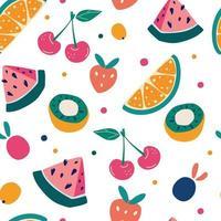 patrón transparente de fruta brillante en estilo dibujado a mano. vector de fondo de repetición para tela colorida de verano.