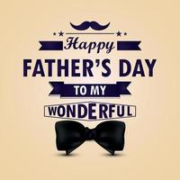 Creative typography of happy fathers day invitation greeting card with bow tie vector