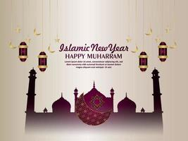 Happy muharram islamic new year greeting card with pattern moon and mosque vector