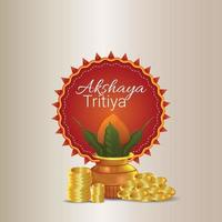 Akshaya tritiya vector illustration with gold coin and kalash