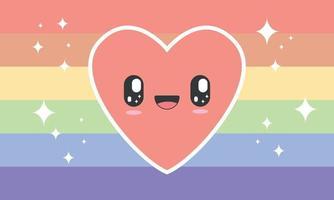 Rainbow flag in pastel tones with kawaii heart vector