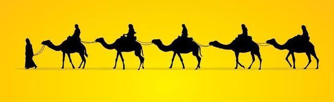 Cameleer with Camels Caravan vector