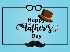 Realistic happy fathers day celebration flat design concept with Masculine and hat vector