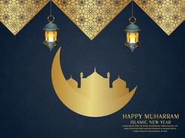 Happy muharram islamic new year background with golden moon and mosque vector